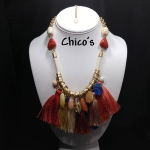 Chico's Austyn Bib Necklace, Multi-colored Fringe
